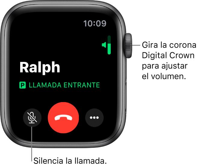 """Durante una llamada entrante, la pantalla muestra el indicador de volumen horizontal en la parte superior derecha, el botón Silencio en la parte inferior izquierda, el botón rojo Rechazar en la parte inferior y el botón """"Más opciones""""."""
