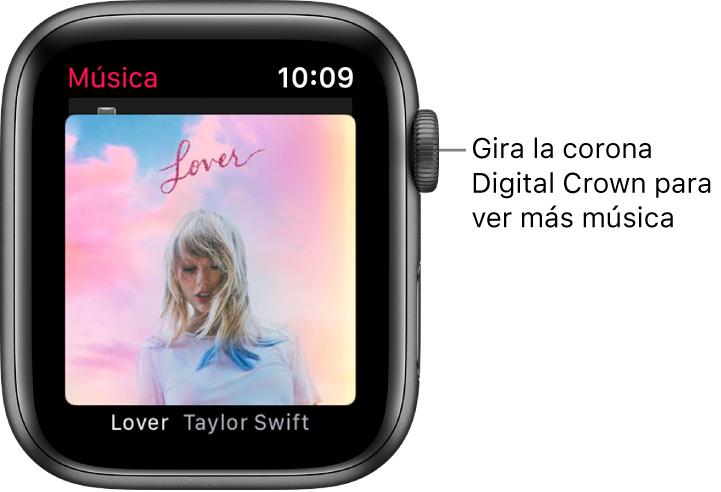 Pantalla con un álbum y su ilustración en la app Música.