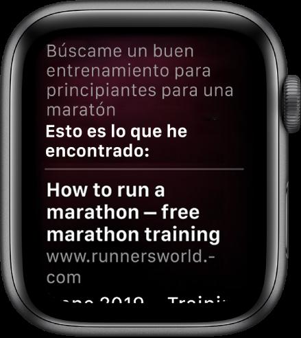 """Siri respondiendo a la pregunta """"¿Me recomiendas un buen plan de entrenamiento de iniciación para correr un maratón?"""" con una respuesta de la web."""