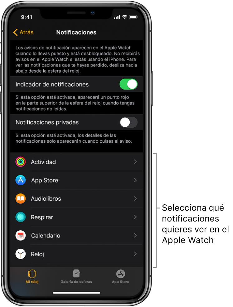 La pantalla Notificaciones de la app AppleWatch del iPhone, con fuentes de notificaciones.