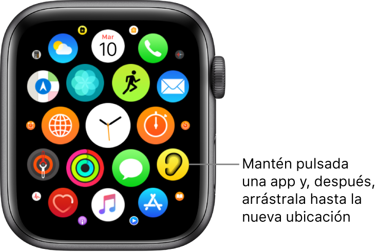 """Pantalla de inicio del AppleWatch en visualización de mosaico. El texto dice: """"Mantener pulsada una app y, después, arrastrarla hasta la nueva ubicación""""."""