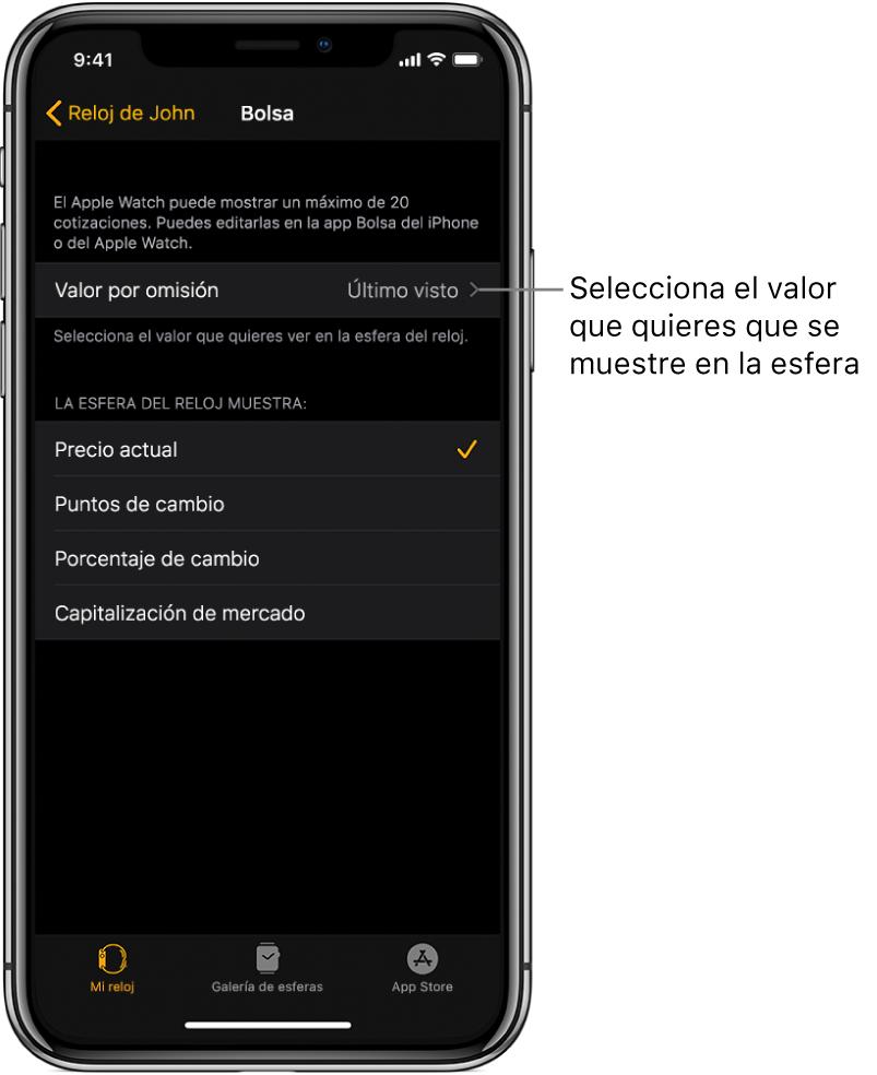"""Pantalla de ajustes de Bolsa en la app AppleWatch del iPhone, con opciones para seleccionar el """"Valor por omisión"""", que está ajustado en """"Último visto""""."""