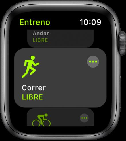 La pantalla Entreno, con el entreno Correr resaltado.