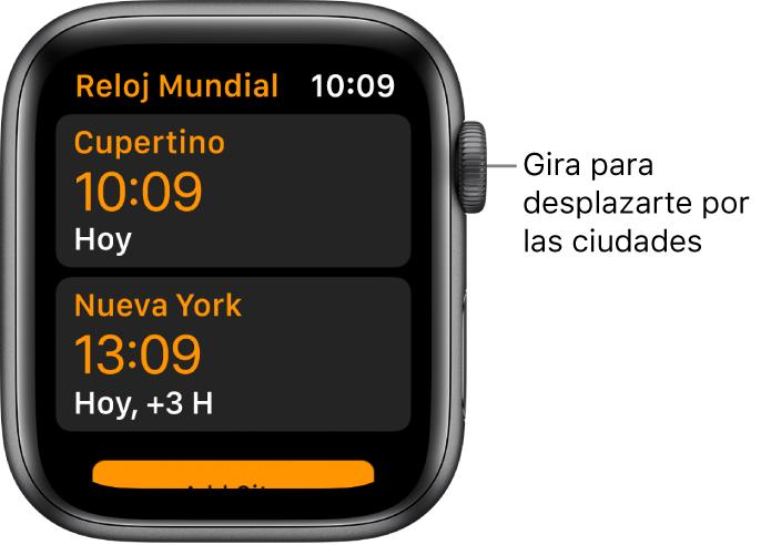 La app RelojMundial con una lista de ciudades y la barra de desplazamiento.