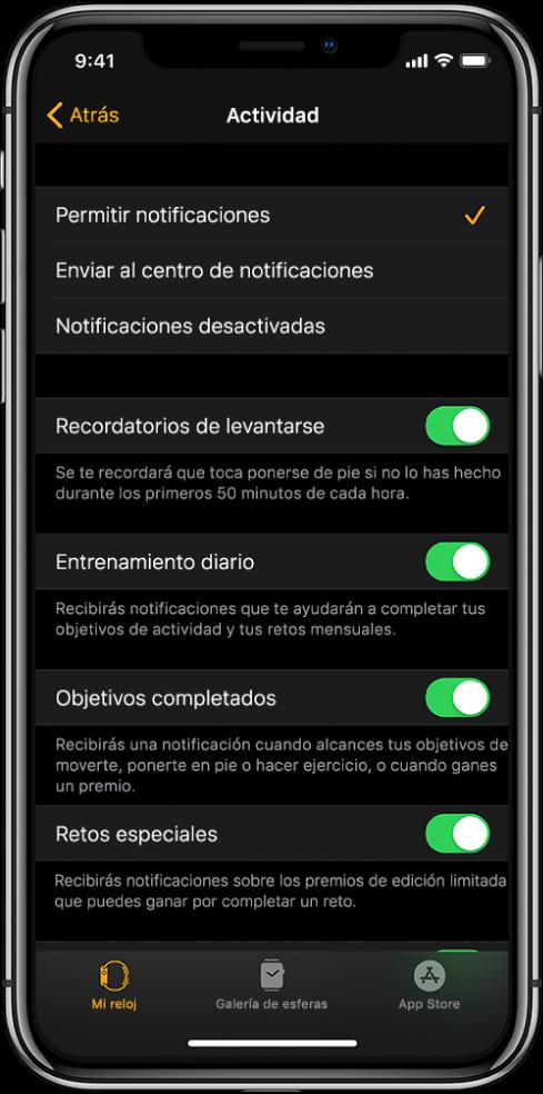 Pantalla Actividad de la app AppleWatch, donde puedes personalizar qué notificaciones quieres recibir.