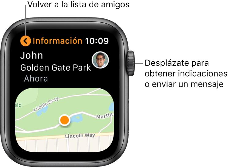 Pantalla con detalles sobre la ubicación de un amigo, incluida la distancia a la que se encuentra y su ubicación en un mapa.
