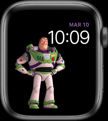 """Esfera """"ToyStory"""", en la que se muestran el día, la fecha y la hora en la parte superior derecha, y un Buzz Lightyear en la parte central izquierda de la pantalla."""