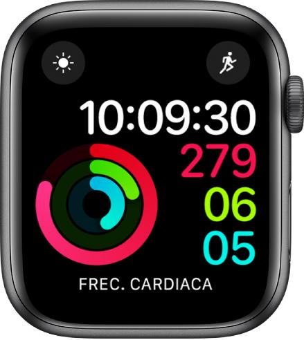 """Esfera """"Actividad - Digital"""" con la hora y el progreso de los objetivos Movimiento, Ejercicio y De Pie. Hay también tres complicaciones: Tiempo arriba a la izquierda, Entreno arriba a la derecha y """"Frec cardiaca"""" abajo."""