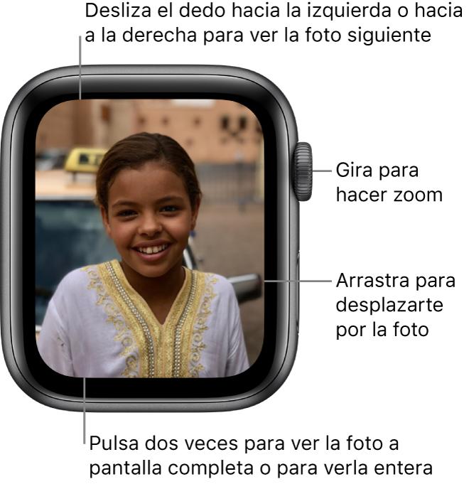 Cuando estés viendo una foto, gira la corona DigitalCrown para hacer zoom, arrastra el dedo para desplazarte por la foto o pulsa dos veces para cambiar entre ver toda la foto y verla a pantalla completa. Desliza el dedo hacia la izquierda o hacia la derecha para ver la foto siguiente.