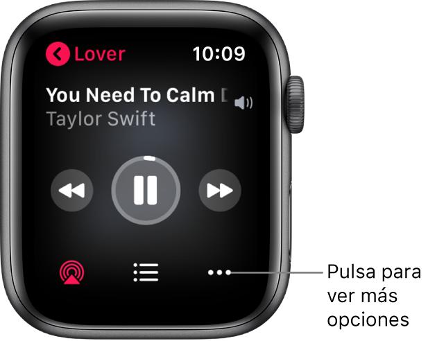 """La pantalla """"Ahora suena"""" en la app Música. El nombre del álbum se encuentra en la parte superior izquierda. El título de la canción y el artista aparecen arriba, los controles de reproducción en el medio y AirPlay, la lista de pistas y los botones de opciones están abajo."""