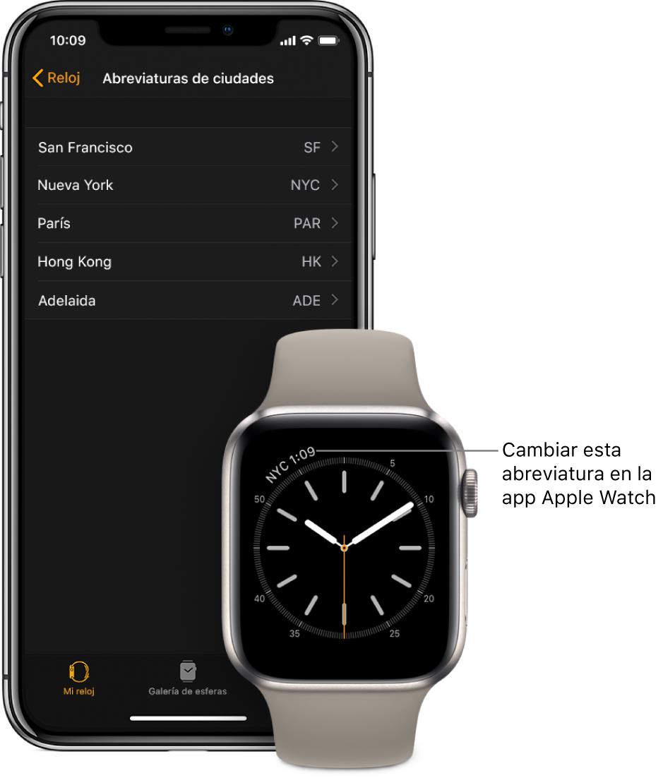 """Un iPhone y un AppleWatch, uno al lado del otro. En la pantalla del AppleWatch se ve la hora de Nueva York (con la abreviatura """"NYC""""). En la pantalla del iPhone se muestra la lista de ciudades que aparece en los ajustes de """"Abreviaturas de ciudades"""", en los ajustes de Reloj de la app AppleWatch."""