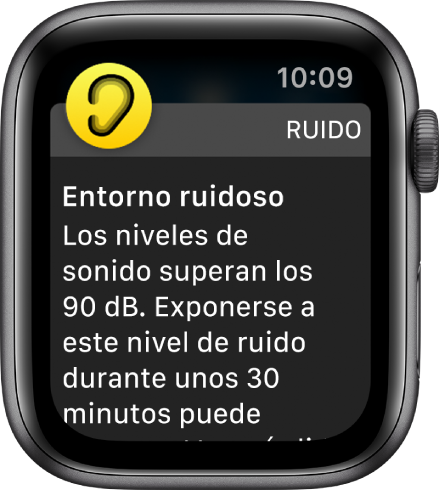 Un Apple Watch en el que se ve una notificación de ruido. El icono de la app asociada a la notificación aparece en el extremo superior izquierdo de la pantalla. Puedes pulsarlo para abrir la app.