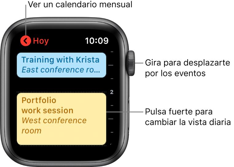 Pantalla del calendario con una lista de los eventos del día.