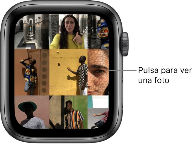 Pantalla principal de la app Fotos del AppleWatch, con varias fotos colocadas en una retícula.