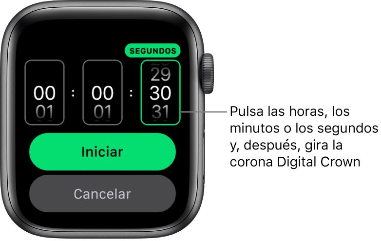 Ajustes para crear un temporizador personalizado, con la hora a la izquierda, los minutos en el medio y los segundos a la derecha. El botón Iniciar está abajo.