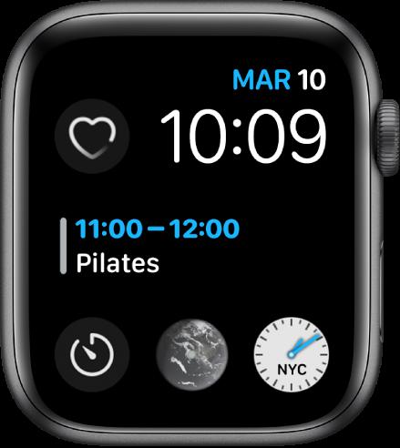 """Esfera """"Infograma modular"""" con el día, la fecha y la hora en la parte superior derecha, el calendario en el centro y tres subesferas cerca de la parte inferior."""