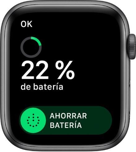 """La pantalla """"Ahorrar batería"""", con el botón OK en la esquina superior izquierda, el porcentaje de batería restante y el regulador """"Ahorrar batería""""."""