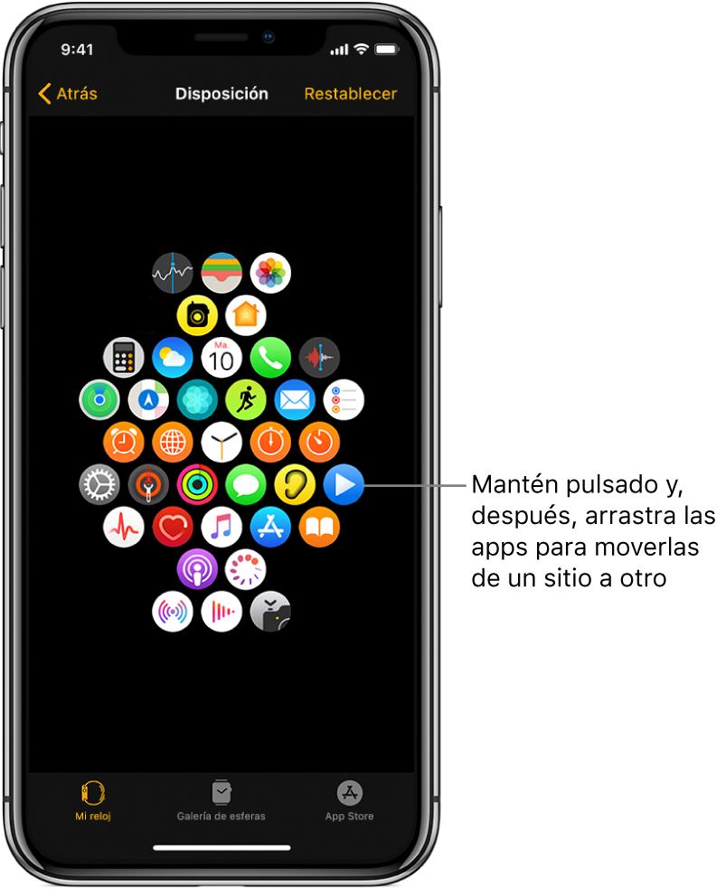 """Pantalla de disposición en la app AppleWatch con una cuadrícula de iconos. El texto de la pantalla indica el icono de una app y dice: """"Mantener pulsado y , arrastrar las apps para moverlas de un sitio a otro""""."""