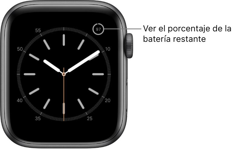 Esfera del reloj con la característica de porcentaje de batería en la esquina superior derecha.