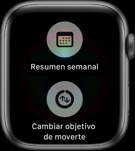 """Pantalla de la app Actividad con el botón """"Resumen semanal"""" y el botón """"Cambiar objetivo de moverte""""."""
