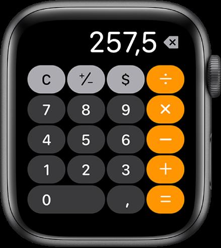 AppleWatch con la app Calculadora. La pantalla muestra el típico teclado numérico con las funciones matemáticas a la derecha. Arriba están los botones C, suma, resta y propina.