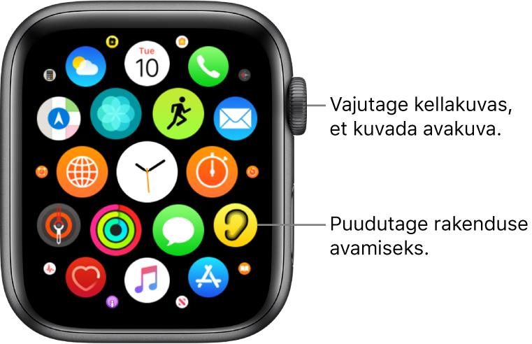 Apple Watchi Home-kuva võrgustikvaade koos rakenduste klastriga. Puudutage rakendust selle avamiseks. Lohistage rohkemate rakenduste kuvamiseks.