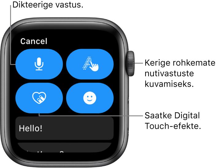 Vastamiskuva, kus on toodud nupud Dictate, Scribble, Digital Touch ja Emoji. Selle all on nutivastused. Rohkemate nutivastuste nägemiseks keerake Digital Crowni.
