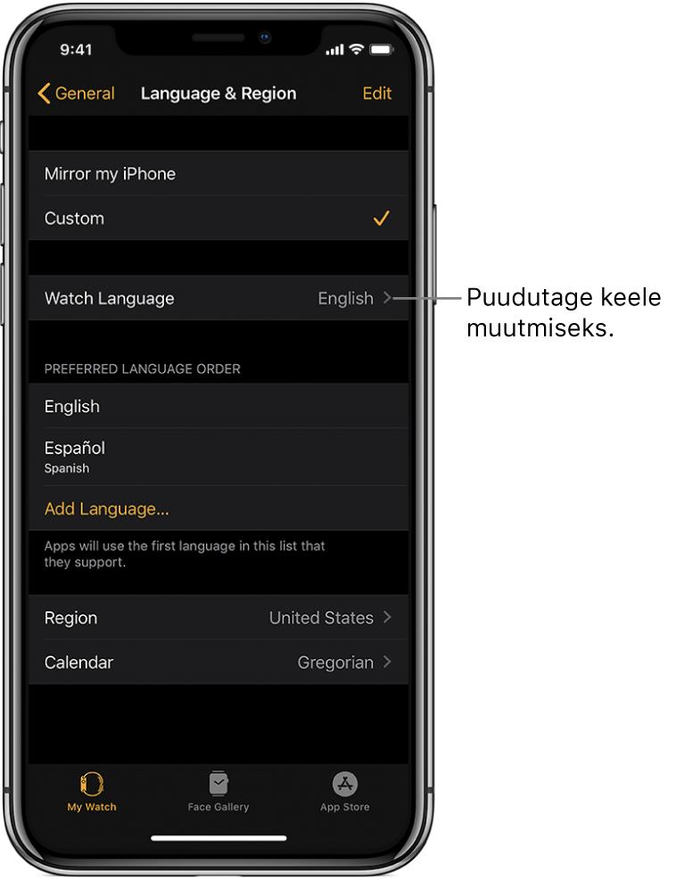 Rakenduse Apple Watch kuva Language & Region, mille ülaosas on seade Watch Language.