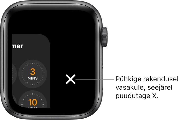 Dock pärast rakendusel vasakule pühkimist; paremal kuvatakse nuppu X.