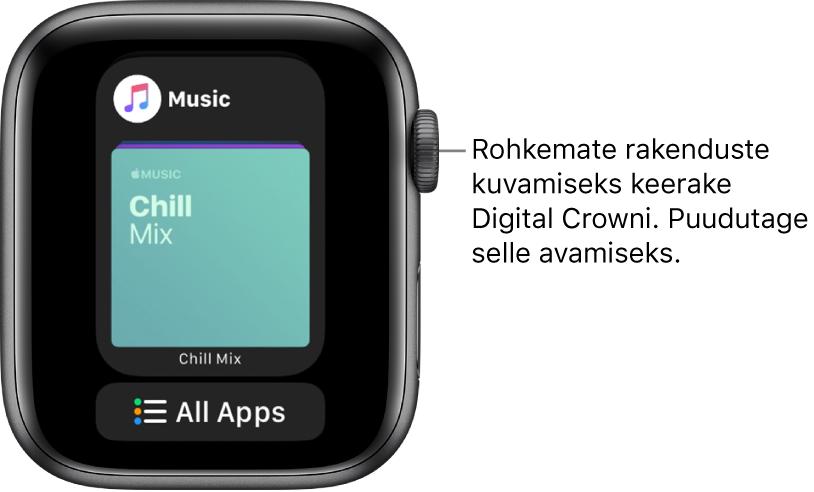 Dockil kuvatakse rakendust Music ning selle all on nupp All Apps. Rohkemate rakenduste kuvamiseks keerake Digital Crowni. Puudutage rakendust selle avamiseks.