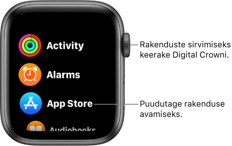Apple Watchi Home-kuva loendivaade koos rakenduste loendiga. Puudutage rakendust selle avamiseks. Kerige rohkemate rakenduste kuvamiseks.