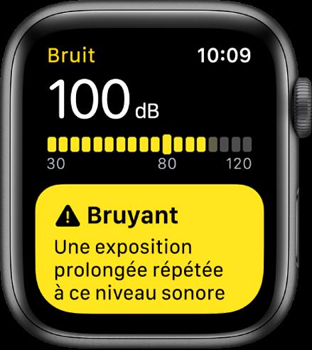 App Bruit affichant une mesure de 100dB. Un avertissement au sujet d'une exposition à long terme à ce son s'affiche en dessous.