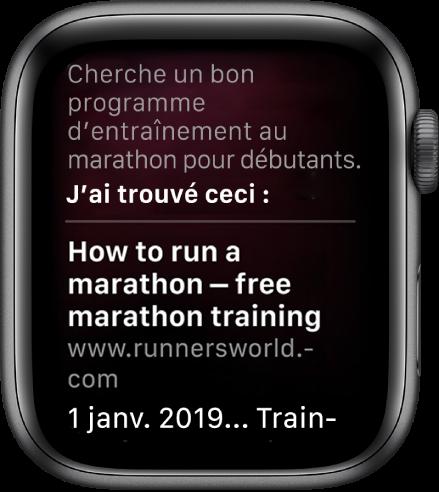 Siri qui répond à la question «Quel est un bon programme d'entraînement pour des débutants cherchant à courir un marathon?» avec une réponse trouvée sur le Web.