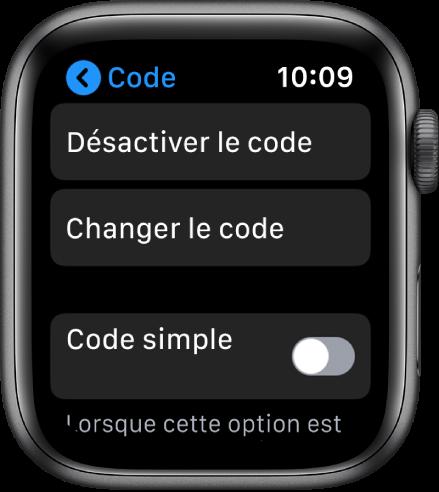 Réglages Code sur l'AppleWatch avec le bouton «Désactiver le code» en haut, le bouton «Changer le code» en dessous et «Code simple» en bas.