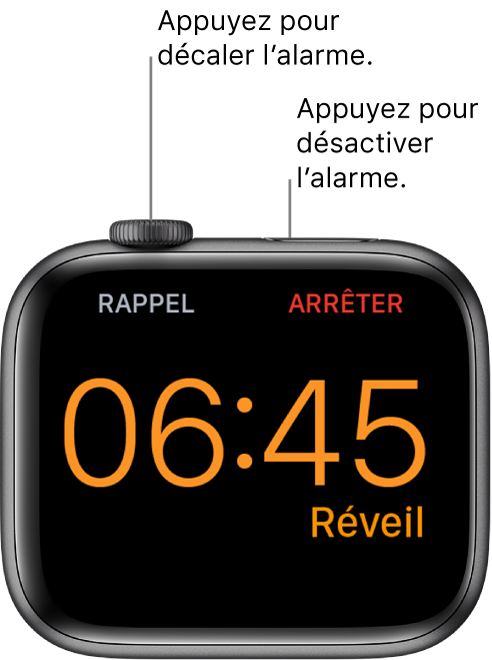 AppleWatch placée sur sa tranche, l'écran affichant un réveil arrêté. Le mot «Rappel» est affiché sous la DigitalCrown. Le mot «Arrêter» est situé sous le bouton latéral.