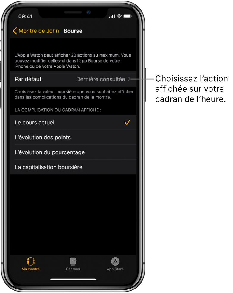 Écran de réglage Bourse de l'app AppleWatch sur un iPhone proposant de choisir l'action par défaut, définie sur la dernière action consultée.