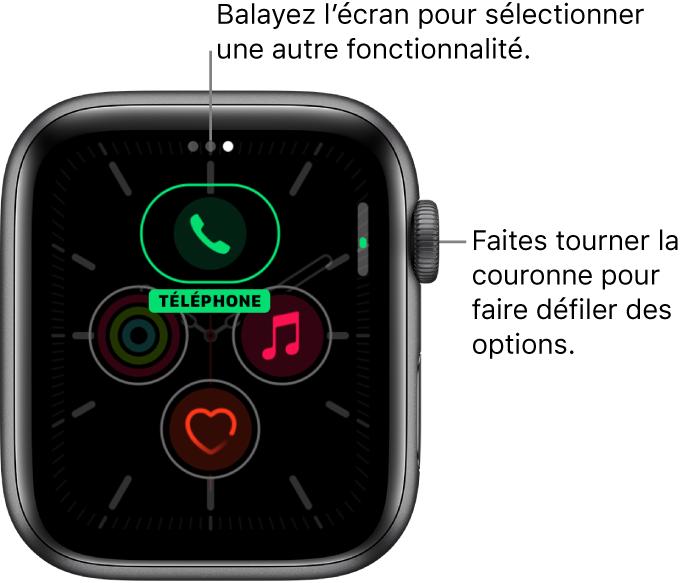 L'écran personnalisé pour le cadran Méridien avec une complication de téléphone mise en évidence. Faites tourner la DigitalCrown pour modifier les options.