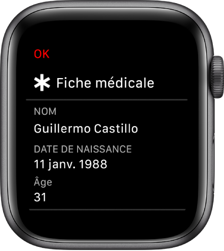 L'écran «Fiche médicale» affichant le nom de l'utilisateur, sa date de naissance et son âge.