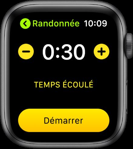 Écran des objectifs montrant l'heure vers le haut de l'écran, avec les boutons - et + de chaque côté, et le bouton Démarrer en bas.