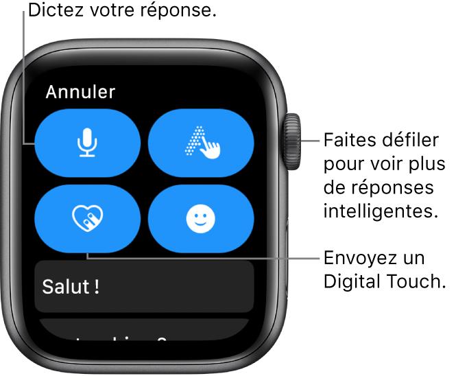 L'écran de réponse avec les boutons Dicter, Griffonner, DigitalTouch et Emoji. Les réponses rapides se trouvent ci-dessous. Faites tourner la DigitalCrown pour voir plus de réponses rapides.