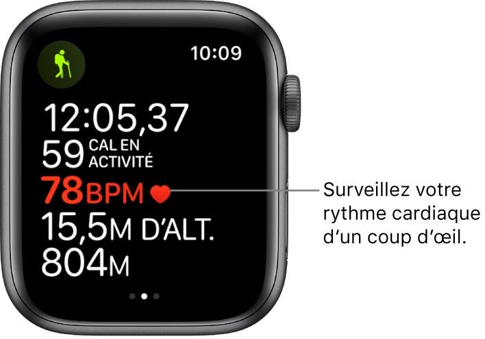 Écran affichant des statistiques, notamment le temps écoulé et la fréquence cardiaque. La légende indique «Surveillez votre fréquence cardiaque d'un coup d'œil».