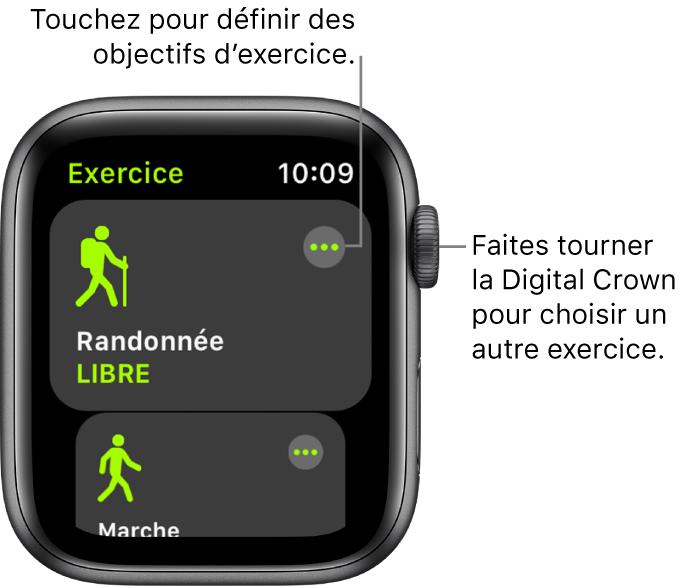 L'écran Exercice avec l'option Randonnée mise en évidence. Un bouton Plus se trouve en haut à droite. Une partie de l'exercice Promenade en extérieur apparaît ci-dessous.