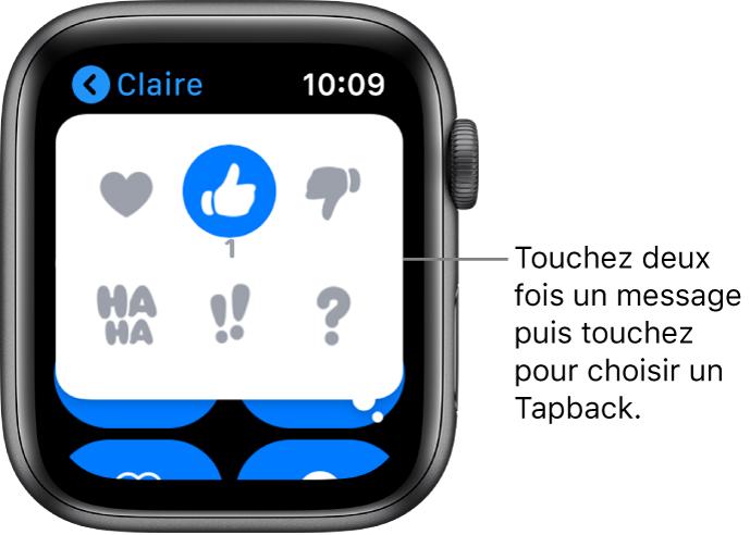 Conversation Messages avec des options Tapback: cœur, pouce vers le haut, vers le bas, Ha Ha, !! et ?.