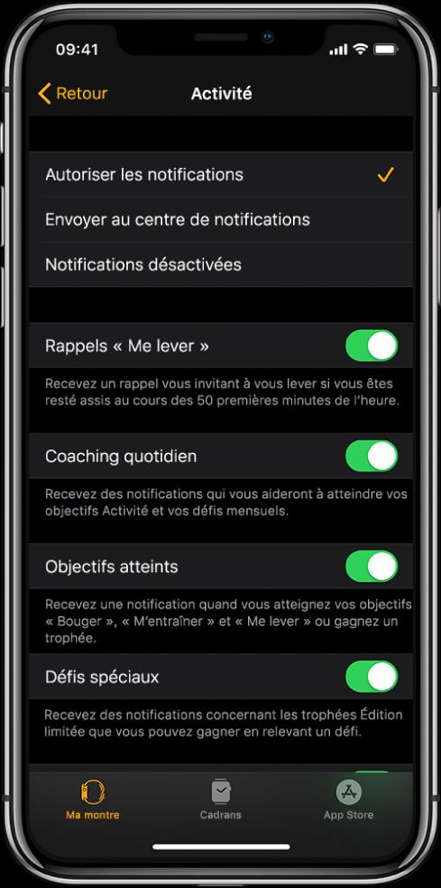 L'écran Activité de l'app AppleWatch, où vous pouvez personnaliser les notifications que vous souhaitez recevoir.