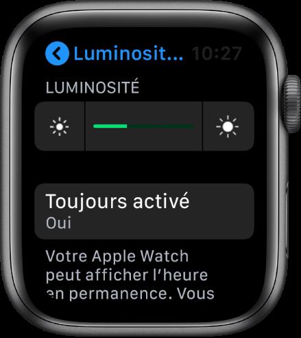 Écran de l'AppleWatch affichant le bouton «Toujours activé» dans l'écran «Luminosité et texte».