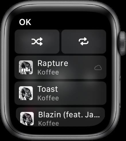 La fenêtre de liste des pistes affichant les boutons Aléatoire et Répéter en haut, puis trois pistes en dessous. Un bouton OK se trouve en haut à droite.