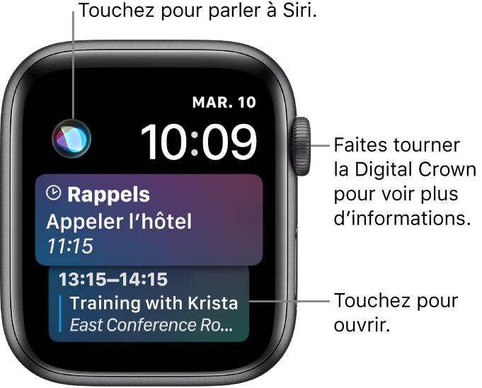 Cadran Siri affichant un rappel et un événement du calendrier. Un bouton Siri est affiché en haut à gauche de l'écran. La date et l'heure sont affichées en haut à droite.