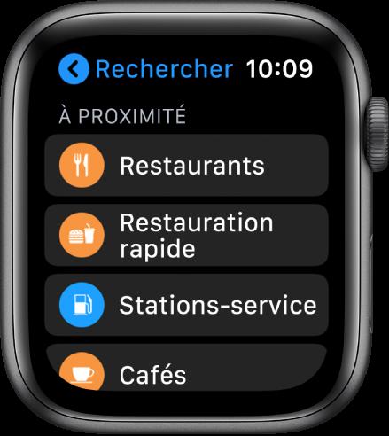 App Plans avec une liste de catégories: Restaurants, FastFood, Stations-service, Café et bien plus.