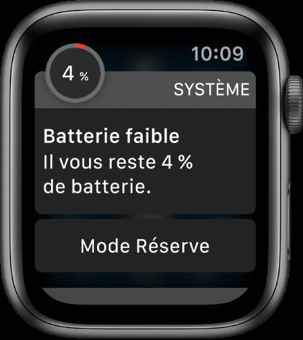 L'alerte batterie faible comprend un bouton que vous pouvez toucher pour activer le mode Réserve.
