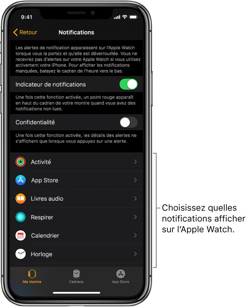 L'écran Notifications de l'app AppleWatch sur l'iPhone montrant des sources de notifications.